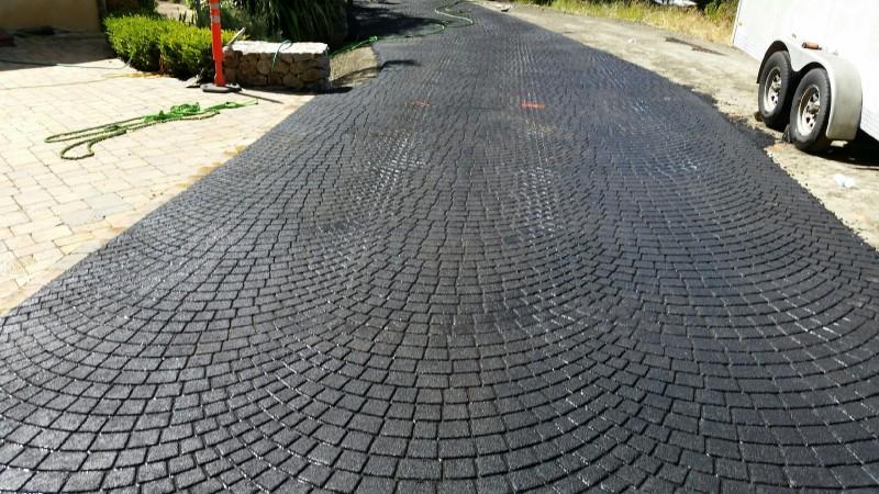 asphalt stamping individual pavers look